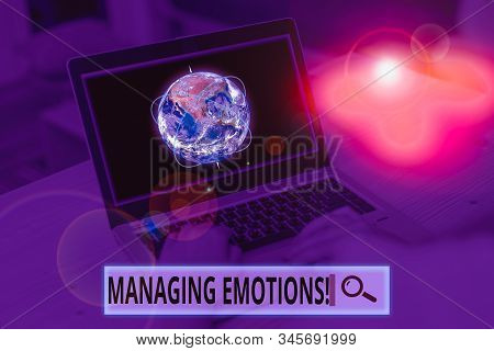 Conceptual hand writing showing Managing Emotions. Business photo showcasing ability be open to feelings and modulate them in oneself Picture photo network scheme with modern smart device. Elements of this image furnished by NASA. stock photo