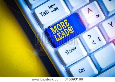 Word writing text More Leads. Business concept for initiation of consumer interest or enquiry into product White pc keyboard with empty note paper above white background key copy space. stock photo