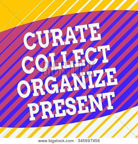 Conceptual hand writing showing Curate Collect Organize Present. Business photo showcasing Pulling out Organization Curation Presenting Square rectangle paper sheet load with full of pattern theme. stock photo