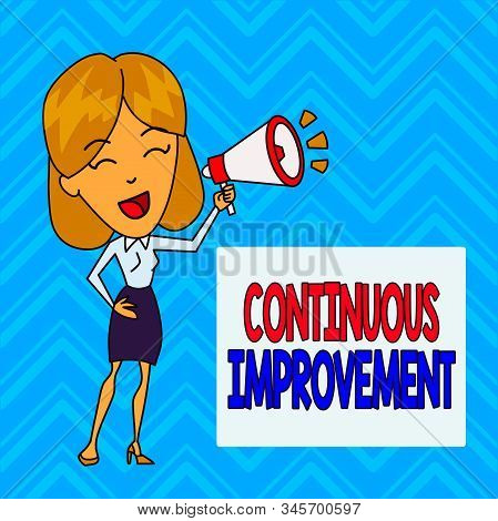 Word writing text Continuous Improvement. Business concept for ongoing effort to improve products or processes Young Woman Speaking into Blowhorn Volume Icon Colored Backgdrop Text Box. stock photo
