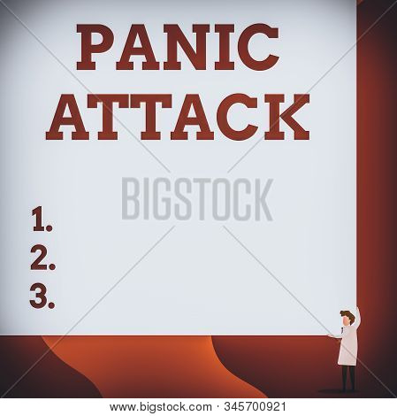 Writing note showing Panic Attack. Business photo showcasing sudden periods of intense fear that may include palpitations One man professor wear white coat red tie hold big board use two hands. stock photo