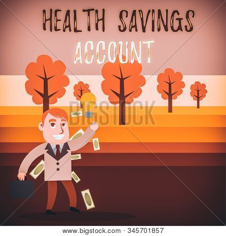Conceptual hand writing showing Health Savings Account. Business photo text users with High Deductible Health Insurance Policy Successful Businessman Generating Idea or Finding Solution. stock photo