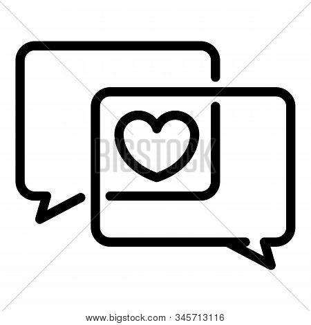 Love chat icon. Outline love chat vector icon for web design isolated on white background stock photo