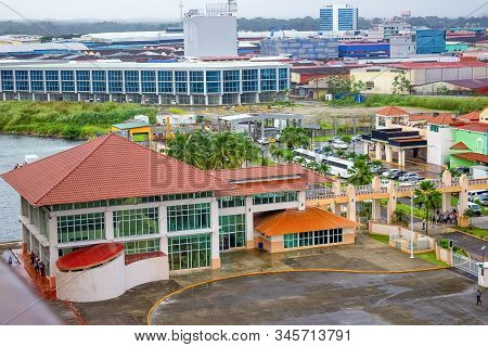 Colon is a sea port on the Caribbean Sea coast of Panama. The city lies near the Caribbean Sea entrance to the Panama Canal. stock photo