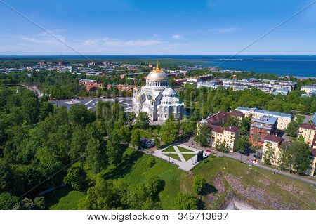 Old St. Nicholas Naval Cathedral in the city panorama on a sunny June day (aerial photography). Kronstadt, Russia stock photo