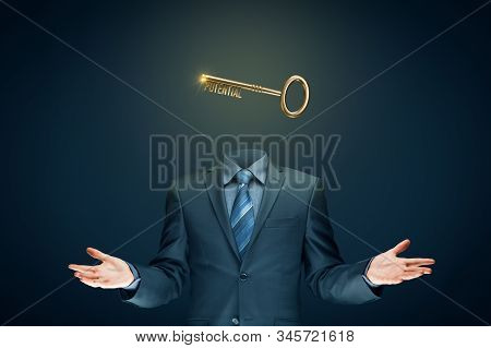 Coach has a key to unlock potential - motivation concept. Coach (manager, mentor, HR specialist) unlock potential represented by key. stock photo