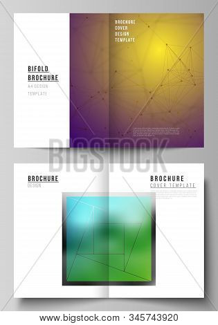 Vector layout of two A4 format modern cover mockups design templates for bifold brochure, flyer, booklet. 3d polygonal geometric modern design abstract background. Science or technology vector. stock photo