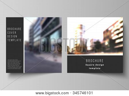 Vector layout of two square covers design templates for brochure, flyer, magazine, cover design, book design, brochure cover. Abstract halftone effect decoration with dots. Dotted pattern decoration. stock photo
