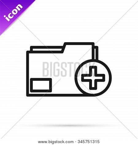 Black line Add new folder icon isolated on white background. New folder file. Copy document icon. Add attach create folder make new plus. Vector Illustration stock photo
