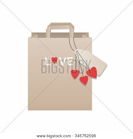 Gift bag. Valentine's day vector template. Paper Shopping Bag isolated on white background. Template for Mock Up. Packaging design for birthday, wedding, engagement. stock photo