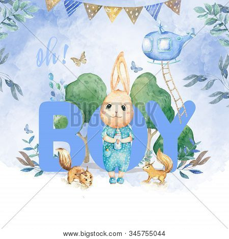 Cute happy birthday card with cartoon Bunny and baby room, butterfly and catoon. Watercolor rabbit clip art and beauty boho. Baby Shower card nursery stock photo