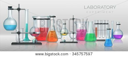 Realistic laboratory. Chemistry lab equipment, 3D flask tubes beaker and other measuring colored filling glassware. Vector chemical or medicine experiment for solutions research or test stock photo
