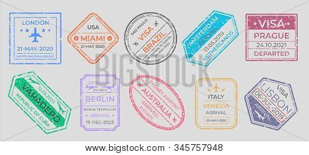 Passport stamps. International travel visa marking, business travel and immigration vintage labels. Vector airport stamp set world city travel arrivals symbol stamping traveling on gray background stock photo