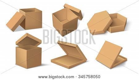 Carton package. Realistic cardboard product package mockup for food and delivery, cube and round brown pack template. Vector set paper mock up isolated container for packages cosmetics stock photo