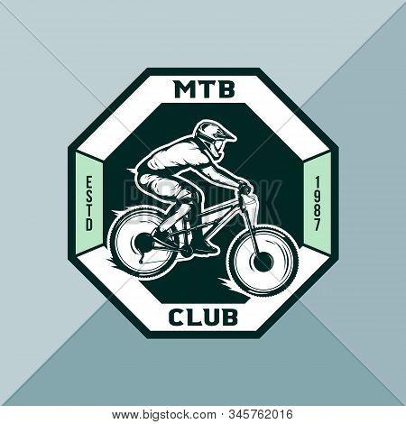 Vector downhill mountain biking badge, logo, label with rider on a bike. Downhill, enduro, cross-country biking illustration stock photo