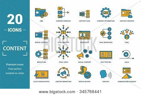 Content icon set. Include creative elements cms, content plan, digital content, viral marketing, media plan icons. Can be used for report, presentation, diagram, web design stock photo
