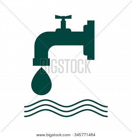 vector water tap icons isolated on white background. symbol of water drop from the tap. leaky water faucet illustration stock photo