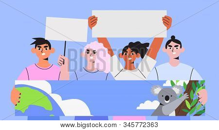 Group of people with placards, banners and signs protesting on a public mass demonstration, meeting or environmental campaign. Ecologiacl problems and environmental protection, save the earth concept. stock photo