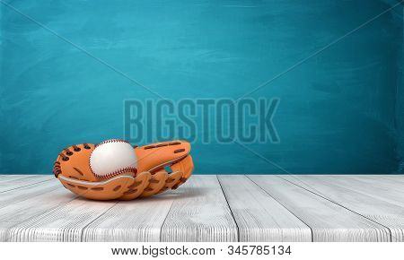 3d rendering of orange baseball glove with a baseball on wooden surface near blue wall with copy space. stock photo