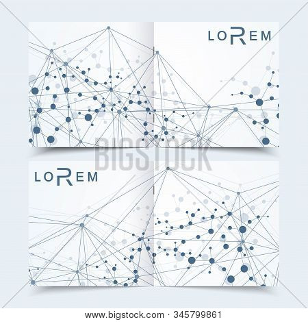 Scientific templates square brochure, magazine, leaflet , flyer, cover, booklet, annual report. Scientific concept for medical, technology, chemistry. Structure molecule and communication. Dna, atom. stock photo