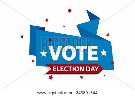 Vote 2020 in USA, banner design. American patriotic background election day. Usa debate of president voting. Election voting poster. Political election campaign. Flyer vector blue red white logo. stock photo