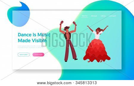 Artists on Traditional Folk Festival Performance Event Website Landing Page. Brazilian Girl Dancer Performing Samba at Rio Carnival with Maracas Player Web Page Banner Cartoon Flat Vector Illustration stock photo