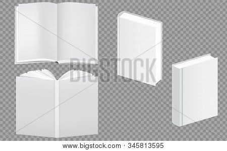 Set of blank book cover template. Closed and open vertical book, magazine or notebook mockup. Blank vertical book cover template with pages. Magazine, brochure, notebook, booklet note cover. stock photo