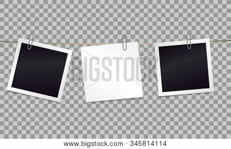 White sticky note and photo frames attached metal paper clips on tape. Template for design. Vector illustration. stock photo
