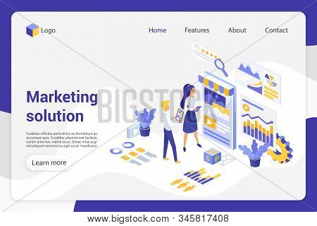 Marketing solution isometric landing page vector template. Analytics department, businessman and businesswoman faceless characters. Product promotion, market analysis web banner homepage design layout stock photo