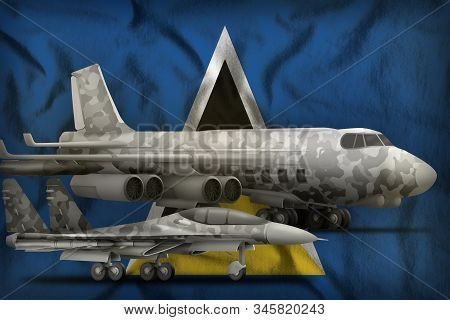 air forces with grey camouflage on the Saint Lucia flag background. Saint Lucia air forces concept. 3d Illustration stock photo