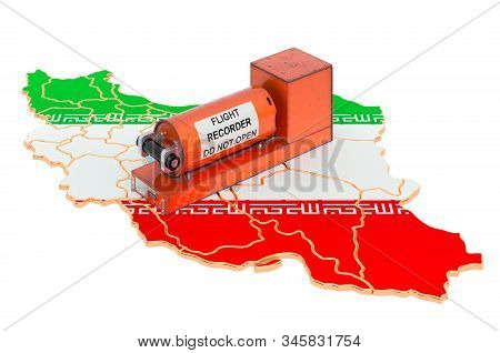 Flight data recorder, black box on Iranian map 3D rendering isolated on white background stock photo