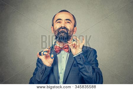 Bearded hairdresser, barber styllist  cutting styling his own beard with scissors and comb, wearing elegant jacket with red bow tie. Stylish adult man studio portrait, isolated at grey background stock photo