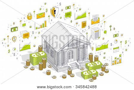 Banking theme cartoon, bank building with dollars and coin stack isolated over white background. 3d vector business isometric illustration with icons, stats charts and design elements. stock photo