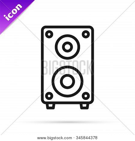 Black line Stereo speaker icon isolated on white background. Sound system speakers. Music icon. Musical column speaker bass equipment. Vector Illustration stock photo