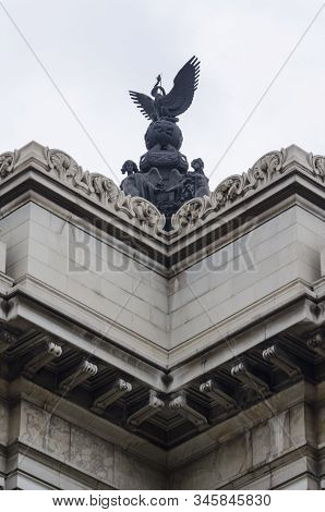 Detail of the Palace of Fine Arts, Palacio de Bellas Artes, a prominent cultural center in Mexico City stock photo