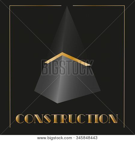 art abstract 3d logo in the form of a black cut pyramid with art deco gold stock photo