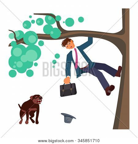 Man climbed a tree fleeing from attack huge aggressive mongrel dog. Bad luck and stressful situations concept. Flat Art Vector illustration stock photo