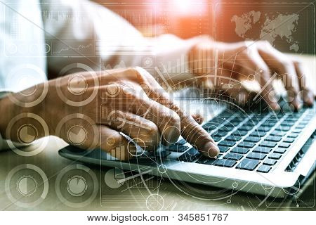 Big Data Technology for Business Finance Analytic Concept. Modern graphic interface shows massive information of business sale report, profit chart and stock market trends analysis on screen monitor. stock photo