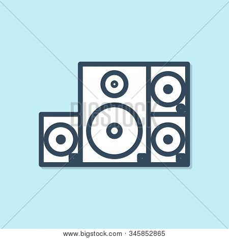 Blue line Stereo speaker icon isolated on blue background. Sound system speakers. Music icon. Musical column speaker bass equipment. Vector Illustration stock photo