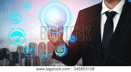 Risk Management and Assessment for Business Investment Concept. Modern graphic interface showing symbols of strategy in risky plan analysis to control unpredictable loss and build financial safety. stock photo