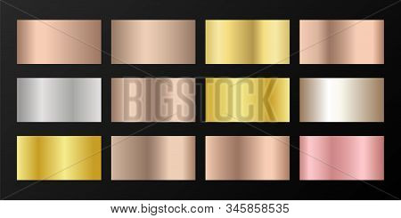 Silver, platinum, bronze, rose gold vector metallic gradients. Buttons set. Shiny chrome, alloy, aluminum, titanium, copper, silver, yellow and pink gold, platinum, steel, bronze background swatches. stock photo