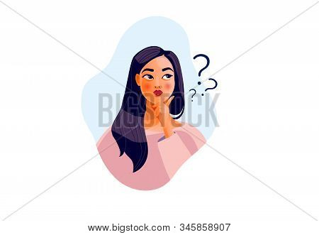 Thinking girl. Beautiful face, doubts, problems, thoughts, emotions. Curious woman stock photo