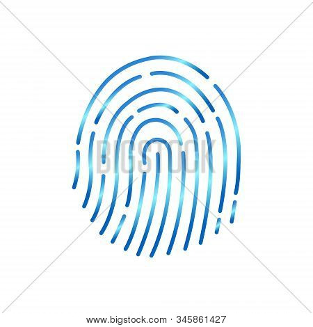Abstract thin line touch id logo. Concept of identification sign like fingermark labyrinth. Flat outline simple trendy macro silhouette logotype. Graphic app art design isolated on white background. stock photo