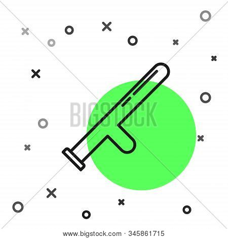 Black line Police rubber baton icon isolated on white background. Rubber truncheon. Police Bat. Police equipment. Vector Illustration stock photo