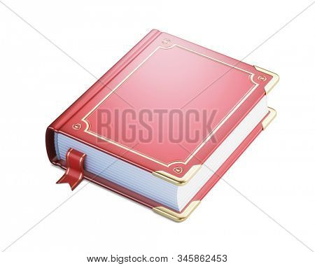 Old book with blank red cover and bookmark isolated on white background. 3d rendering stock photo