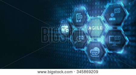 Business, Technology, Internet and network concept. Agile Software Development. stock photo