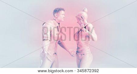 Couple Arguing as a Argument Quarrel Concept 3d Render stock photo
