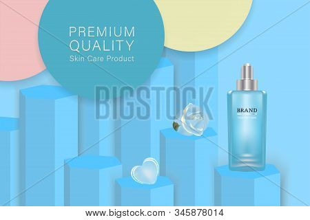 Beauty product, blue cosmetic container with advertising background ready to use, valentines concept skin care ad, illustration vector. stock photo