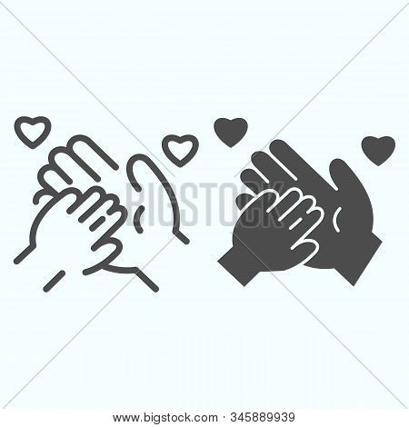 Charity for Children line and solid icon. One adult hand supported child hand vector illustration isolated on white. Caring arms outline style design, designed for web and app. Eps 10. stock photo