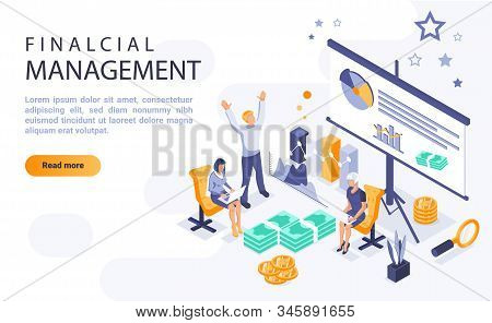 Financial management landing page vector template with isometric illustration. Economic literacy homepage interface layout with isometry. Corporate economic planning 3d webpage design stock photo
